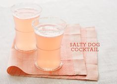 The Salty Dog  4 oz. freshly squeezed grapefruit juice 2 oz. Hendrick's gin 1/4 teaspoon salt mixed with 1/8 tsp sugar, for rimming  Pour all ingredients over ice cubes in a highball glass rimmed with salt/sugar mixture. Stir well & serve. Serves 1.