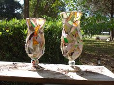 GLASS ART MOSAIC-Set of 2 Bell Shaped Vase/ Candleholders