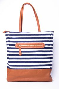 Navy stripes and cognac leather = Perfection.