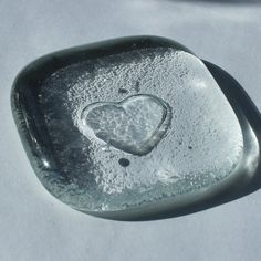 Clear Heart Fused Glass Pocket Charm Worry by IntentionalGlass, $5.00
