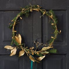 """This circlet of gilded snowdrop blossoms adds a gleaming accent to the holiday home with hand-embossed detail.- Hand-embossed tin wire, hand-cast resin- Indoor use only- Imported1""""D, 15.75"""" diameter"""
