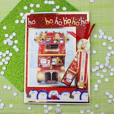 Card created using Hunkydory Crafts' The Christmas Bus is Coming Topper Set from the A Cuddly Christmas Topper Collection Christmas Scenes, Christmas Past, Christmas Crafts, Christmas Ideas, Hunkydory Crafts, Christmas Topper, Hunky Dory, Create And Craft, Heartfelt Creations