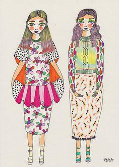 "doodoodloo: "" That Twist Knot Sweater//Freya Flavell at doodoodloo "" Illustration Mode, Watercolor Illustration, Textile Prints, Textile Art, Textiles, Pretty Drawings, 2d Art, Cute Little Girls, Pattern Art"