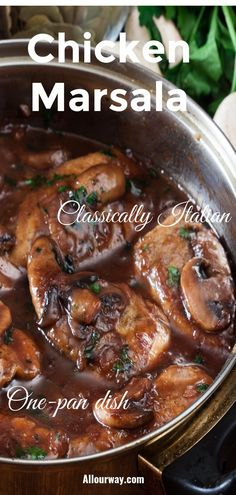 A delicious and popular chicken dish that is made with a fortified wine and mushroom sauce. The wine is reduces to make a rich sauce that has onions plenty of mushrooms. You get an explosion of delicious flavor with every bite. The earthy mushrooms deepen the flavor of the sauce. Make it all in one pot for easy cooking and clean-up. This is a classically Italian-American dish. #chicken, #chickenmarsala, #Italianchickendinner, #classicitaliandish
