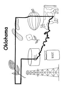 state outline shape and demographic map state of oklahoma coloring pages