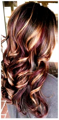 Fall Hair Color For Brunettes, Fall Hair Colors, Brown Hair Colors, Blonde Brown Red Hair, Black Hair, Hair Colours, Blonde Ombre, Brunette With Lowlights, Red Hair With Highlights