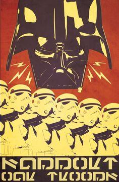Star Wars illustrations - propaganda style | By: Patty McPancakes, via GeekTyrant (#starwars #darthvader #stormtroopers) Star Wars Poster, Star Wars Art, Star Trek, Geeks, Starwars, Ww2 Propaganda Posters, Support Our Troops, Geek Art, Illustration