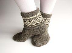 Patterned Hand Knitted Women's Woolen Socks - 100% Natural Organic Undyed Handspun Wool Yarn