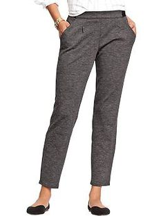 Women's Pleated Ponte-Knit Trousers | Old Navy $18.99 on sale