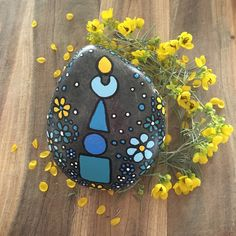 Painted Rock - Rock Art - Gorinto Japanese Symbols - Natural Home Decor - blue luminescence collection #27 - $30.00