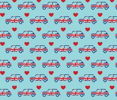 Mini Cooper Hearts - Union Jack Car fabric by cpilgrim on Spoonflower - custom fabric