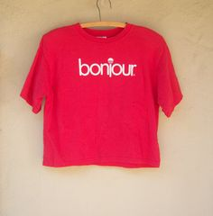 vintage 80s crop top tee // BONJOUR logo promo tee // padded shoulders by dahlilafound, $28.00