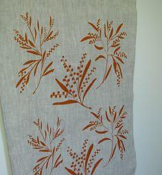 Screenprinted Linen Tea Towel - by PalumaPrint on madeit   wattle flowers