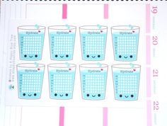 Happy Water Glass Weekly Hydrate Tracker Reminder Stickers Erin Condren Life Planner Mambi Horizontal Vertical ECLP Kawaii Cute Funny Agua - Health and Wellness Bullet Journal Water Tracker, Bullet Journal Mood, Bullet Journal Layout, Bullet Journal Inspiration, Bujo, Bellet Journal, Printable Planner Pages, Planner Stickers, Water Glass