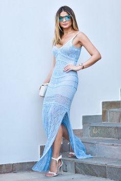 Vestido Tricô Serenity Azul Candy