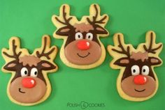 X-mas Cookies - Rudolph the Red Nosed Reindeer from http://polishcookies.blogspot.com/