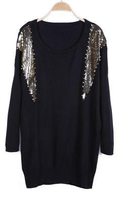 Black Long Sleeve Sequined Rivet Embellished Sweater - Sheinside.com