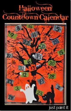 canvas Countdown Calendar with dollar store spooky stuff by @MuralMaker1