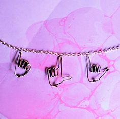 ily sign language necklace  I love you silver hands by Exaltation, $32.00