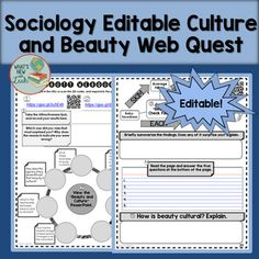 Help your sociology, anthropology, psychology or ELA students consider the cultural nature of beauty with this engaging web quest. Students will visit websites and respond to prompts that help them understand that beauty is relative and ideals change across time and place.This is a part of my Sociology of Culture Interactive Notebook Bundle and My Sociology Interactive Notebooks Mega Bundle:Mega BundleSociology of Culture Interactive Notebook Bundle $2.00