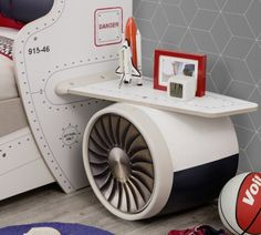 Cilek First Class Airplane Twin Storage Bed with Headboard Storage and One Airplane Motor and Wings Bedroom Themes, Bedroom Sets, Kids Bedroom, Kids Rooms, Airplane Bed, Kids Car Bed, Twin Storage Bed, Captains Bed, Bed Furniture