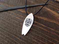 Surf Necklace, Gifts For Surfers, Skull Pendant, Rock Collection, Ceramic Jewelry, Personalized Jewelry, Surfboard, Charmed, Sterling Silver