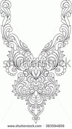 Folk Embroidery Patterns Hungarian folk art - buy this vector on Shutterstock Hungarian Embroidery, Folk Embroidery, Learn Embroidery, Beaded Embroidery, Chain Stitch Embroidery, Embroidery Stitches, Embroidery Patterns, Machine Embroidery, Bordado Tipo Chicken Scratch
