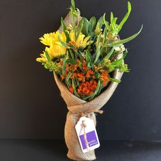Today's Posy: Todays Posy: Orange Asclepia, White Wax Flowers and Yellow Daisys with Green Pittosporum. Only $20 delivered right now, plus shipping via UberRUSH! Anywhere in Manhattan and selected parts of Brooklyn and Queens.  #florist #manhattan #brooklyn #queens #newyork #posy #petite #petiteposy #petiteposyny #Orange #Asclepia #White #WaxFlowers #Yellow #Daisys #Green #Pittosporum.