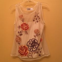 Embroidered sheer sleeveless top | Newport News Lovely summer top has actually two pieces - sheer embroidered shell and light cream color tank. Perfect condition, worn one time and been in my closet for years. I guess you can call it vintage. Newport News Tops Tank Tops