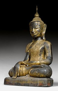 MONUMENTALER BUDDHA. Burma, Shan-Stil, 18./19. Jh. H 290 cm.