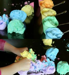 Rainbow Space Dough- Toddler fun at home on a rainy summer day.  The colors are so electric #homemadeplaydough #crafts