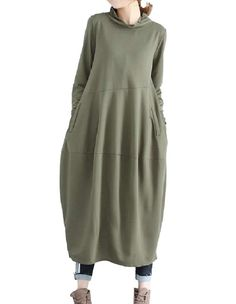 Women Solid-Colored Retro Style High Neck Linen Cocktail Dress Classic Style, Cocktails, High Neck Dress, Dresses, Women, Fashion, Craft Cocktails, Turtleneck Dress, Vestidos