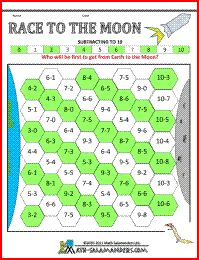 Race to the Moon, a subtraction to 10 game for kindergarten age children
