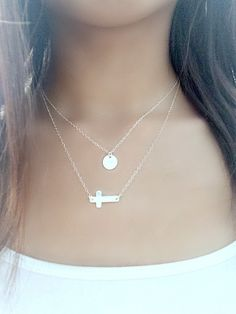 Layered Cross Necklace,Personalized jewelry,Initial Necklace,Sideways Cross Necklace,925 Sterling Silver, Initial Necklace,Cross Jewelry by LetItBeLove on Etsy