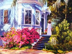 The Blue House - June Dudley Fine Art Paintings and Prints