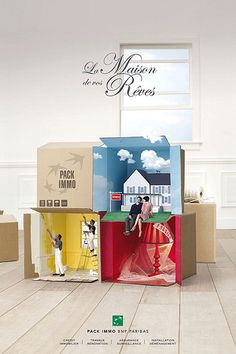 Print ad: 'La Maison de vos Rêves' (The home of your dreams). Ads Creative, Creative Posters, Creative Advertising, Creative Design, Ad Design, Layout Design, Exhibit Design, Booth Design, Banks Ads