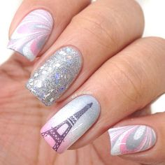 Looking for new nail art ideas for your short nails recently? These are awesome designs you can realistically accomplish–or at least ideas you can modify for your own nails! - Credits to the owner of the image - Fancy Nails, Love Nails, Diy Nails, Glitter Nails, Fabulous Nails, Gorgeous Nails, Pretty Nails, Perfect Nails, Eiffel Tower Nails