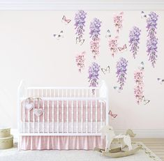 Wisteria, Hyacinth & Butterfly Wall Decals – Faith Laine Unicorn Wall Decal, Butterfly Wall Decals, Beautiful Wall, Beautiful Space, Hyacinth Flowers, Purple Wisteria, Apartment Walls, Heart Wall Art, Removable Wall Decals