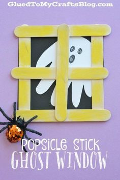 october crafts This Halloween themed Popsicle Stick Ghost Window Kid Craft is not only NOT scary but really EASY too! So come check it out today! Kids Crafts, Daycare Crafts, Fall Crafts For Kids, Classroom Crafts, Craft Stick Crafts, Toddler Crafts, Preschool Crafts, Holiday Crafts, Craft Ideas