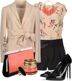 """blazer & shorts"" by livewithgrace ❤ liked on Polyvore"
