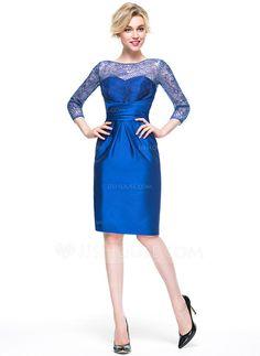 Vestido tubo Escote redondo Hasta la rodilla Volantes Cremallera Mangas Mangas 3/4 No 2016 azul real Primavera Verano Otoño General Grande Satén Baile de promoción