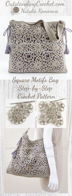Square Motifs Shoulder Bag Step-by-Step Crochet Pattern at ww.OutstandingCrochet.com