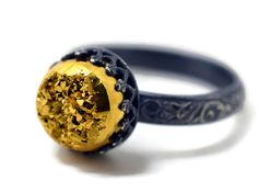 Gold Druzy Ring Oxidized Silver Ring Gold Gemstone by fifthheaven