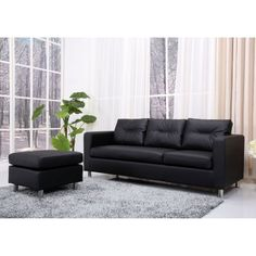 Gold Sparrow Detroit Convertible Sectional Sofa and Ottoman Set, Black Living Room Seating, New Living Room, Living Room Sets, Living Room Chairs, Sectional Sofa With Recliner, Ottoman Sofa, Leather Sectional Sofas, Recliners, Sofa Furniture