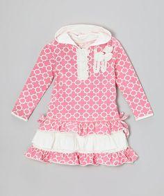 Love this Pink Quatrefoil Sequin Ruffle Hooded Dress - Infant, Toddler & Girls on #zulily! #zulilyfinds