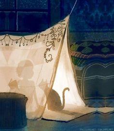 Girl and cat in tent cartoon illustration via www.Facebook.com/GleamOfDreams
