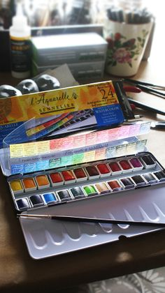 Honey based L'Aquarelle watercolors by Sennelier~Image by Christine Alvarado. #Aquarelle #Sennelier #watercolors