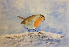 Robin by Nadja Yabrova. Watercolor 38x28 cm