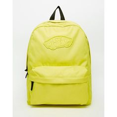 Vans Realm Backpack in Yellow (155 AED) ❤ liked on Polyvore featuring bags, backpacks, sulphur, backpacks bags, polyester backpack, rucksack bag, knapsack bags and vans backpack