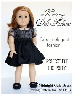 Heritage Midnight Gala Dress Doll Clothes by PixieFairePatterns, $3.99